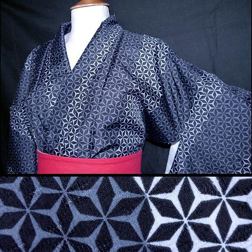Asanoha Washable New Kimono - L