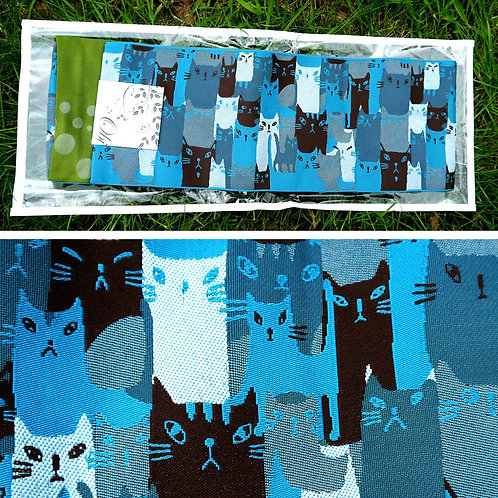Crowd of Cats Hanhaba Obi - Blue Grey