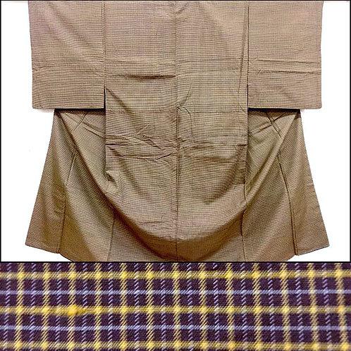 Brown & Ochre Silk Kimono