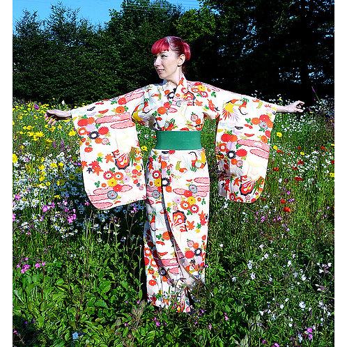 A Mandarin Duck & Flowers Kimono
