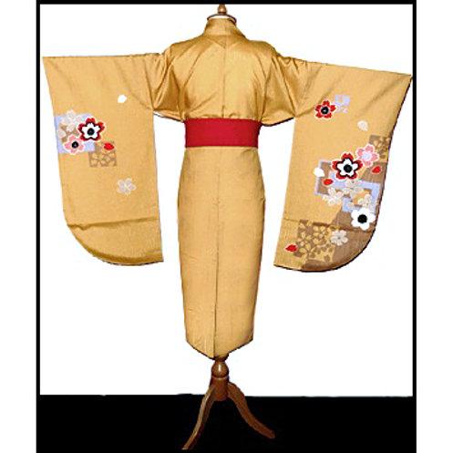 Ochre Floral Short Hakama Kimono - L110a
