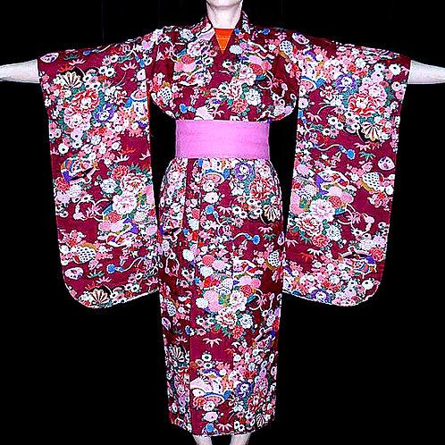 Floral Burgundy Kimono