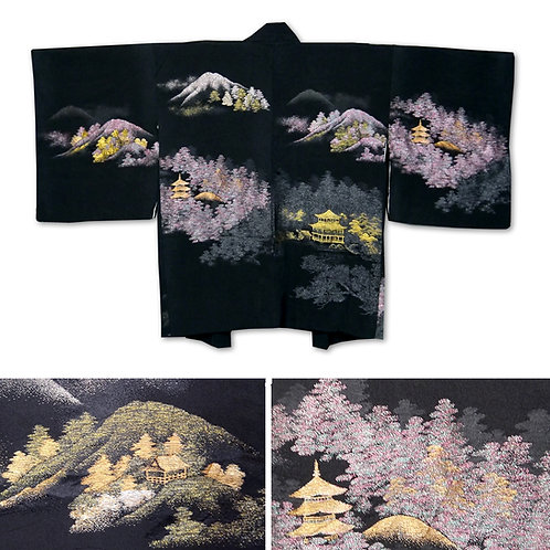 Golden Pagodas Silk Haori