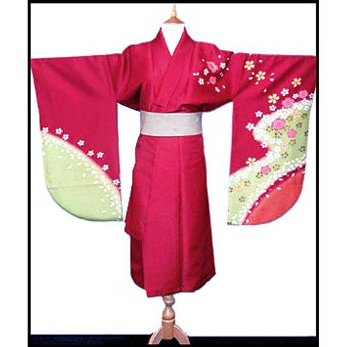 Dark Red Short Hakama Kimono - L111