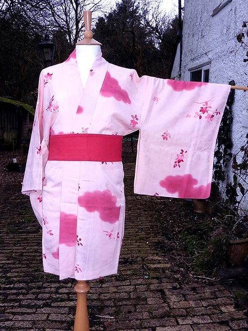 Clouds & Flowers Pink Silk Haori