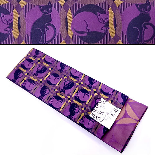 Cats Circles Hanhaba Obi - Purple