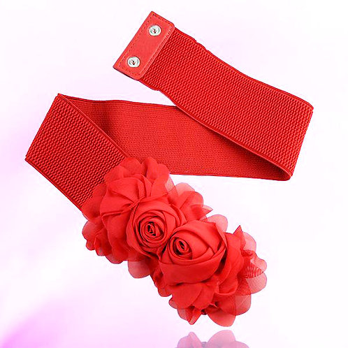 Chiffon Flowers Stretch Belt - Red