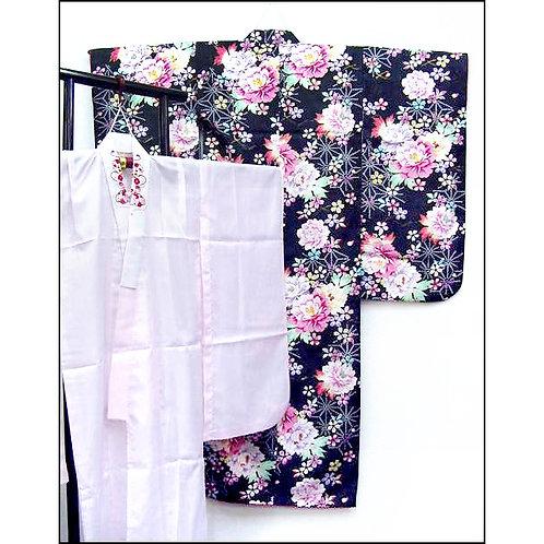 Floral Black Kimono with Juban