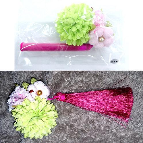 Flower & Tassel Japanese Hair Clip - Green