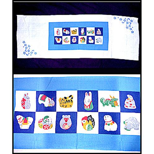 Japanese Astrology Signs Tenugui - Blue