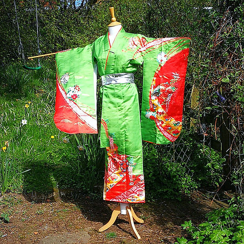 Green & Red Pretty Kimono