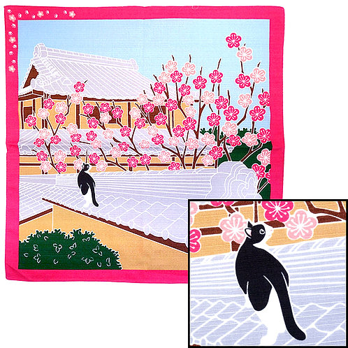Cat Viewing Spring's Plum Blossom Furoshiki