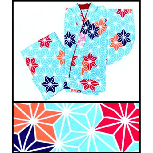 2-Part Kimono - Blue Asanoha - L
