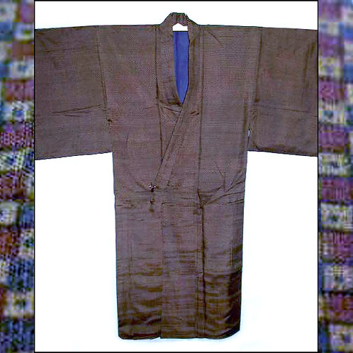 Checked Brown Silk Kimono