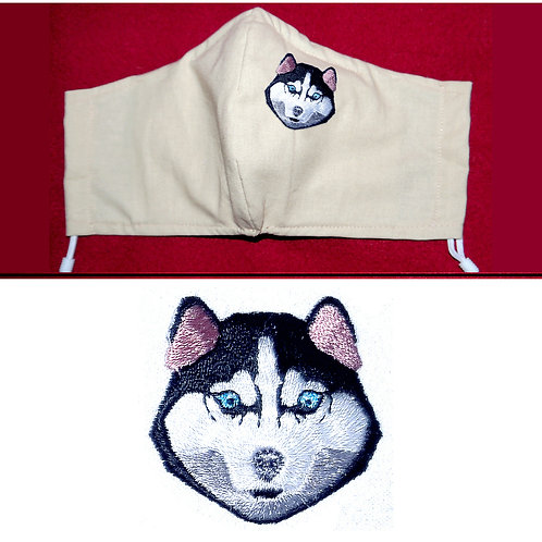 Embroidered Husky Dog - Face Mask - 6 Colours - 2 Sizes