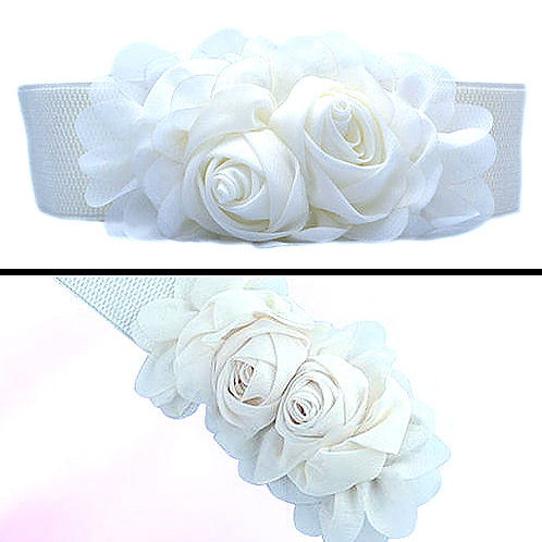 Chiffon Flowers Stretch Belt - White