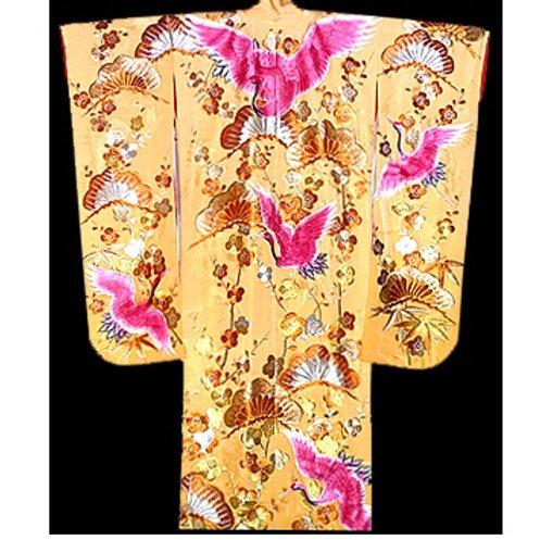 Pink Cranes Silk Uchikake