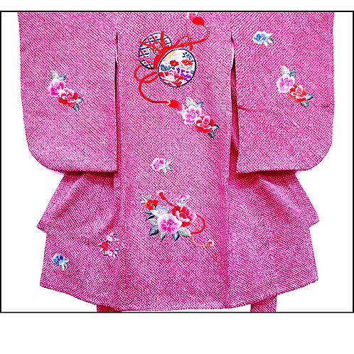 Embroidered Silk Shibori Kimono With Juban