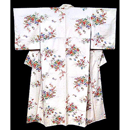 People on Cream Silk  Kimono