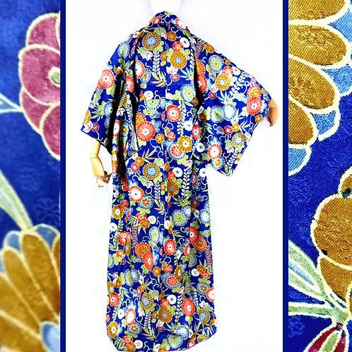 Floral Dark Blue Kimono