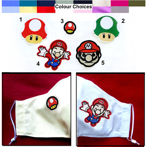 Super Mario Wired Face Mask - 5 Patches,  16 Mask Colours