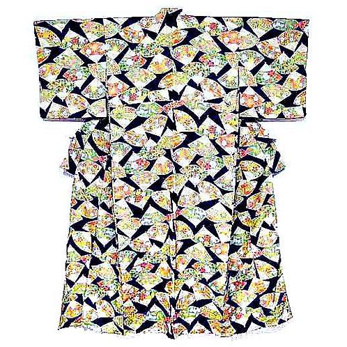 Fans on Navy Kimono