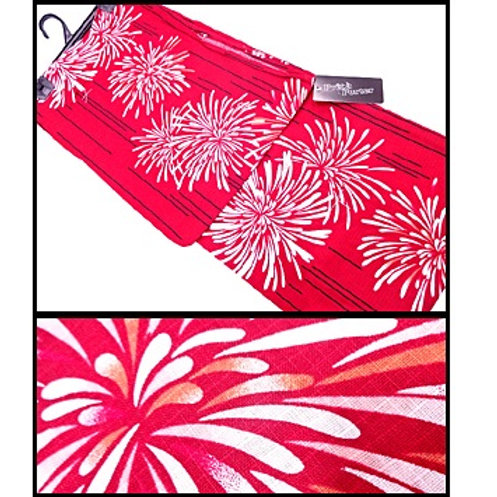 Beautiful Fireworks Dark Red Kimono
