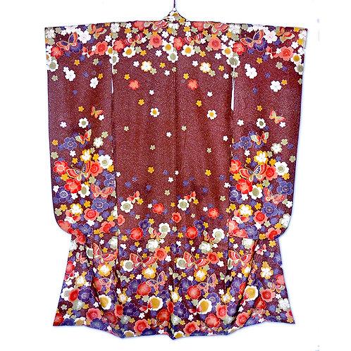 Butterflies & Flowers Speckled Furisode Kimono