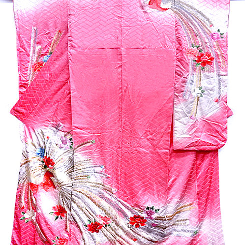 Embroidered Phoenix Pink Furisode