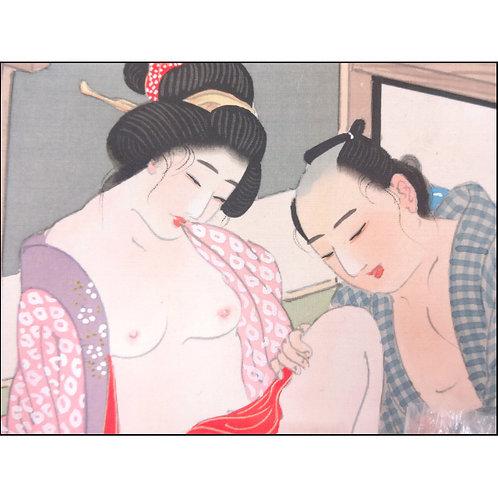 Shunga - Erotic Art Painting on Silk - A
