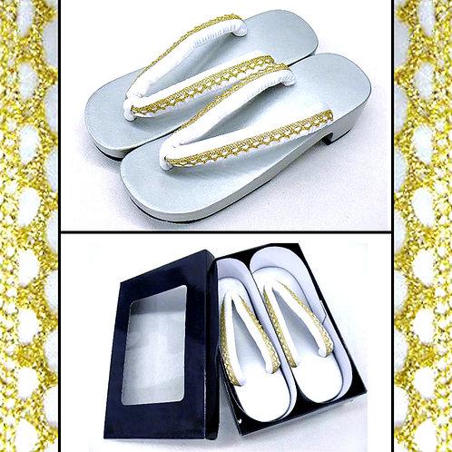 Crisp White & Gold Strap Silver Geta