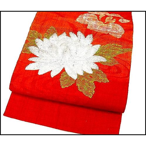 Red Nagoya Obi with White Kiku