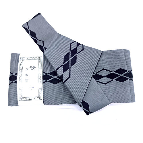 Diamond Line Grey Pre-Tied Kaku Obi