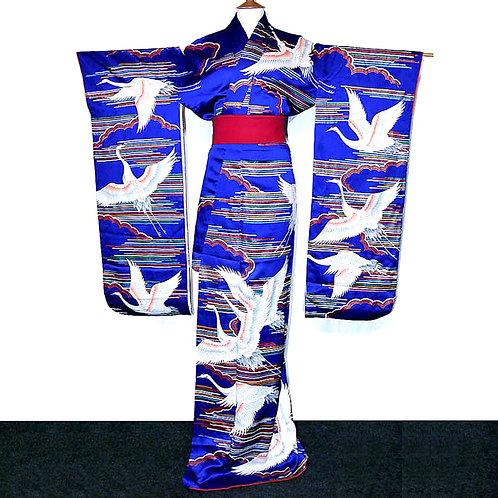 Cranes & Clouds Furisode Kimono