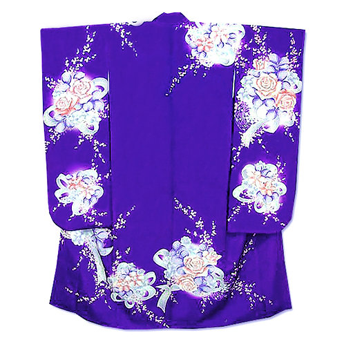 Bouquets Purple Silk Furisode