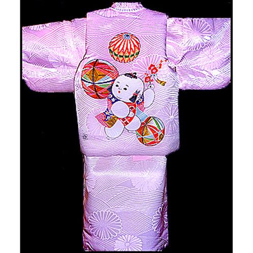 Child's Pink Kimono & Hifu