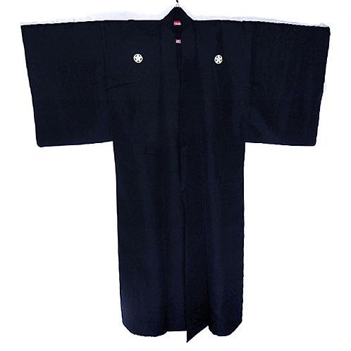 Silk Kuro Montsuki Kimono - 5 Ume Mon