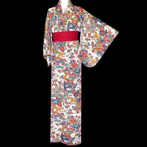 Cream Bingata Print Kimono