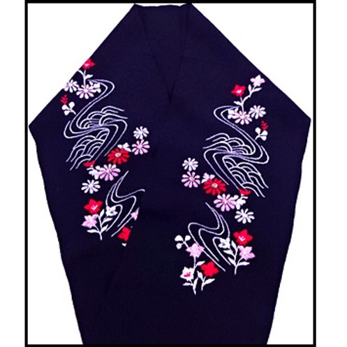 Embroidered Han Eri - Black & Flowers