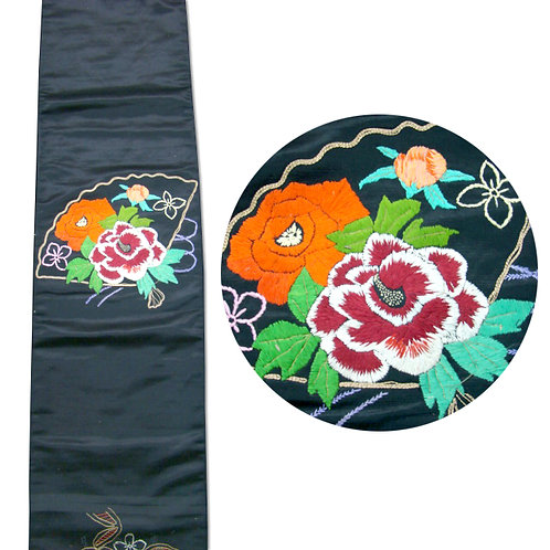 Antique Black Silk Nagoya Obi