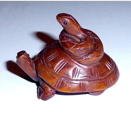Snake on Turtle Netsuke