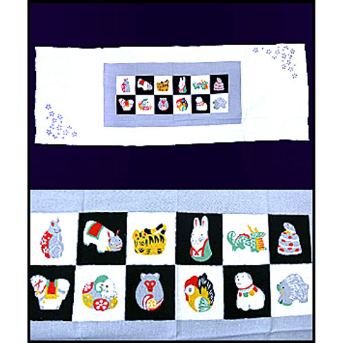 Japanese Astrology Signs Tenugui - Grey