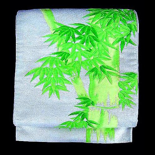 Bamboo on Silver Fukuro Obi