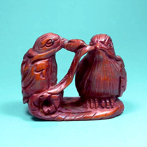 Pair of Birds Netsuke - A