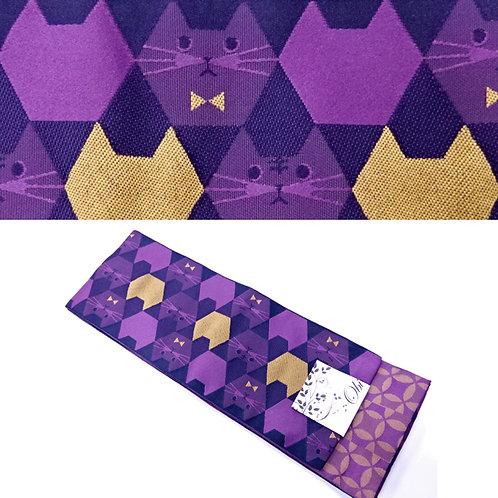 Cat Hexagons Hanhaba Obi - Purple