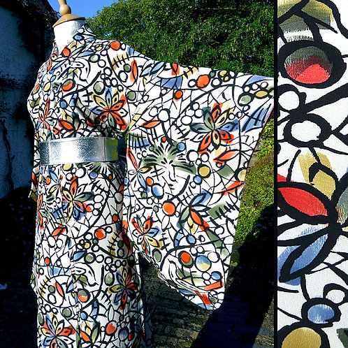 Painterly Birds & Flowers Kimono