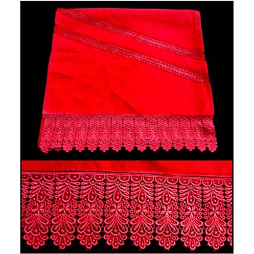 Red Velvet Shawl / Stole With Lace