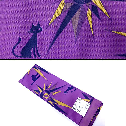Cats & Starbursts Hanhaba Obi - Purple