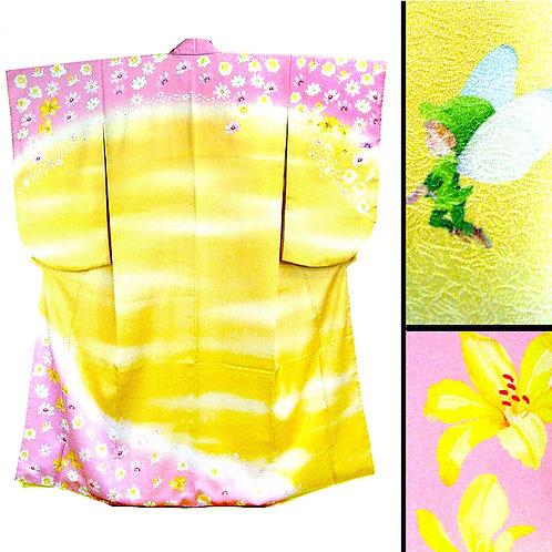 Fairy on Yellow Ko Furisode