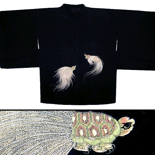 Embroidered Turtles Silk Haori